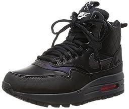 Nike Women\'s W Air Max 1 Mid Snkrbt RFLCT, BLACK/BLACK-BRIGHT CRIMSON-MINT, 9 M US
