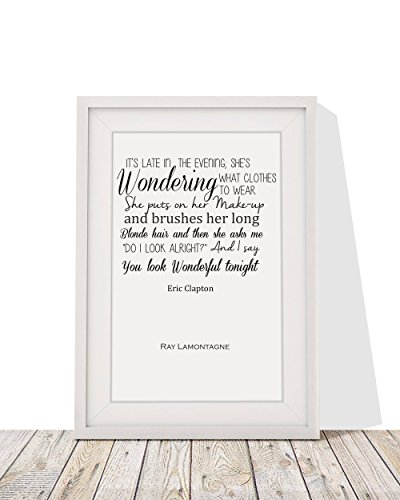 Eric Clapton Wonderful Tonight Song Lyrics Framed A4 Print And 12x10 Glazed Frame With Mount