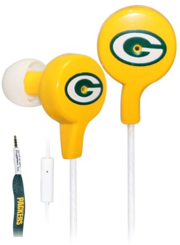 Ihip Official Nfl - Green Bay Packers - Great Quality Shoelace Style Earbud With Built In Microphone, Nfe52Gbp