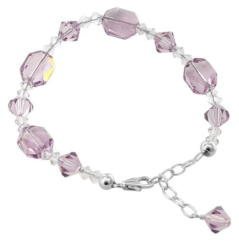 SCBR261 Made with Swarovski Elements 11 x 9mm Light Amethyst Crystal Bracelet in .925 Sterling Silver with Lobster Clasp 7
