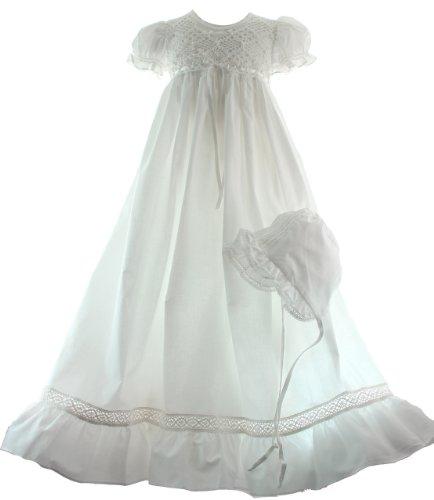Girls White Baptism Christening Gown Crochet Bodice (3M)