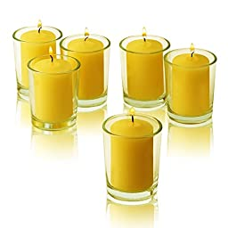 Clear Glass Round Votive Candle Holders With Citronella Yellow votive candles Burn 15 Hours Set of 72