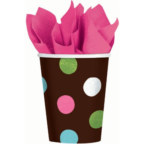 Warm Polka Dot 9 oz. Cups (18 per package)