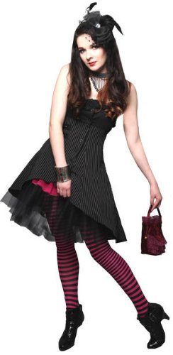 Wrap & Buckle Gothic Victorian Steam Punk Ruffle Bustier Pinstripe Waistcoat Top/Dress Sizes 10-12