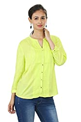 Solids Round Neck Green Top