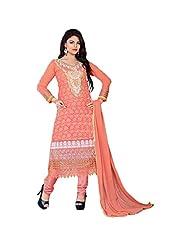 Fabfirki Peach Georgette Embroidered Unstitiched Anarkali Salwar Suit