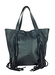 Vince Camuto Shira Fringed Leather Tote, Black