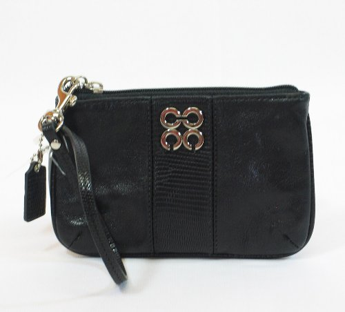 NEW AUTHENTIC COACH JULIA LEATHER SMALL WRISTLET (Black)