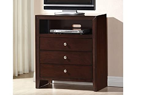 Modern Rich Cherry Media TV Chest with Storage Drawers by Poundex