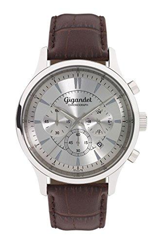 Gigandet Reloj de Hombre Cuarzo Brilliance Cronógrafo Analógico Cuero Plata Marrón G48-001