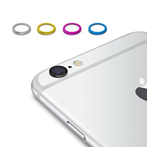 kwmobile 5x pratico anello protettivo per fotocamera per Apple iPhone 6 / 6S in nero argento fucsia blu