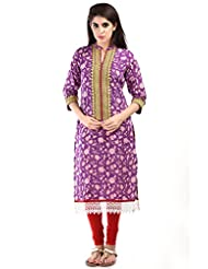 AARR Chinese Collar Casual Floral Print 3/4 Sleeve Cotton Kurta