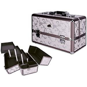 Amazon.com: 15 Inch Dual Tone Bronze Floral Pattern 3 Extendable Trays Aluminum Professional Makeup Artist Cosmetic Travel Carrying Train Case Storage Organizer + Brush Holder + Shoulder Strap: Beauty