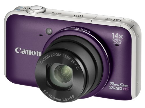 Canon PowerShot SX220 HS Digital Camera - Purple (12.1MP, 14x Optical Zoom)  3.0 inch LCD