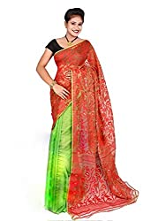 Monash Creations Green/Red Half and Half Dhakai Jamdani Pure Cotton Handloom saree