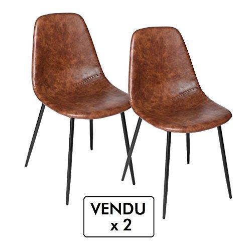 Lotto-di-2-sedie-vintage-Stile-industriale-Colore-MARRONE-invecchiato