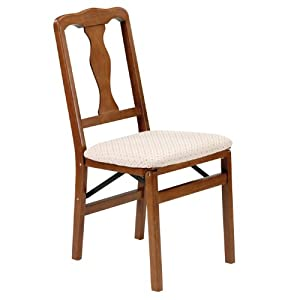 "Folding Dining Chair - Queen Anne - Set of 2 (Fruitwood) (35.5""H x 16.75""W x 19.25""D)"