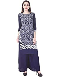 Adesa Blue Colour Printed Full Sleeve Kurti With Palazzo - B06XT3QDMD