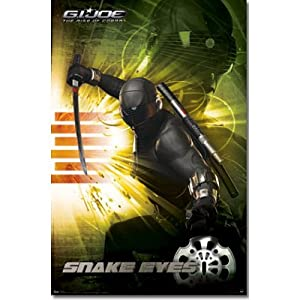 G.I. Joe Movie (Snake Eyes, Sword Out) Poster Print - 22x34 custom fit with RichAndFramous Black 22 inch Poster Hangers