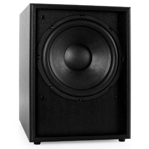 Auna-Linie-300-SW-BK-Hifi-Subwoofer-aktiver-Bassreflex-Subwoofer-mit-Holz-Finish-AUX-2x-Stereo-Cinch-25cm-Bassbox-150-Watt-schwarz