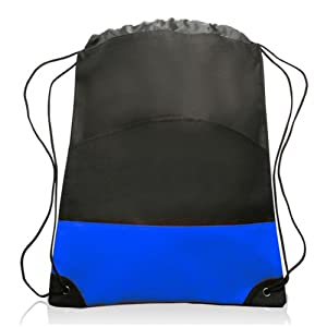 Extra Durable Nylon Sports Drawstring Backpack Bag, Blue