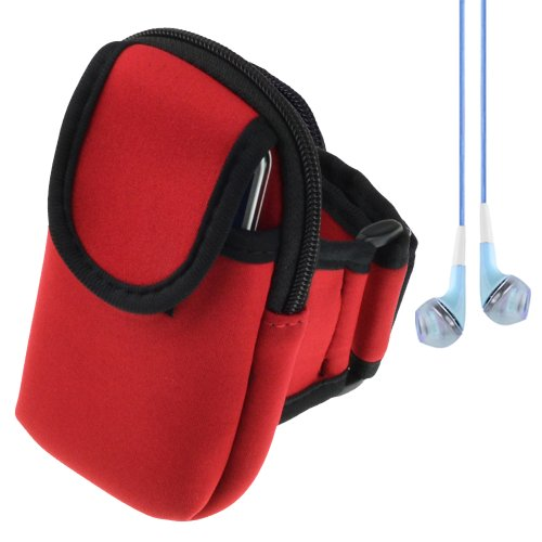 Outdoor Active Cycling Gym Armband Pouch Bag For Nokia Lumia Series Smartphones Windows Phone 8 (Red) + Blue Vangoddy Headphones With Mic