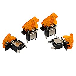 See Car SPST Yellow LED Light 12V 20A Metal Tip Toggle ON/OFF Switch 4Pcs Details