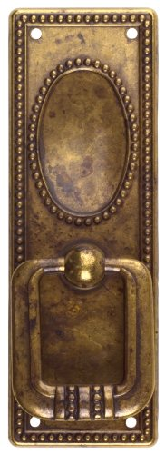 Bosetti Marella 100229.03 Classic Series Vertical Drop Pull with Backplate, Antique Brass Distressed, 1.3-by-3.82-Inch