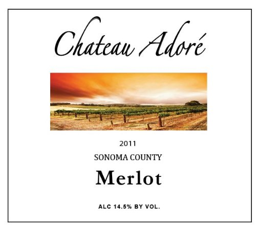 2011 Chateau Adoré Sonoma County Merlot 750 Ml