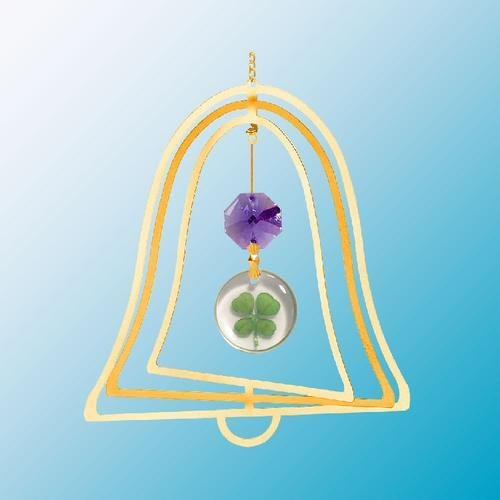 24K Gold Plated Hanging Sun Catcher Or Ornament..... Round Shaped Four Leaf Clover & Purple Swarovski Austrian Crystals In A Bell front-852385
