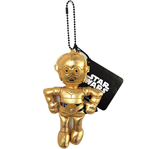 Japan Disney Official Star Wars the Force Awakens - C-3PO Golden Yellow Head Mascot Soft Plush Stuffed Toy Cushion Doll Plushie Ball Key Chain Strap Charm Phone Ring Holder Accessory Takara Tomy Arts