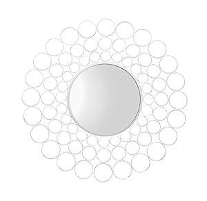 Bentley Garden Wrought Iron Round White Large Outdoor Wall Decorative Illusion Mirror from Bentley Garden