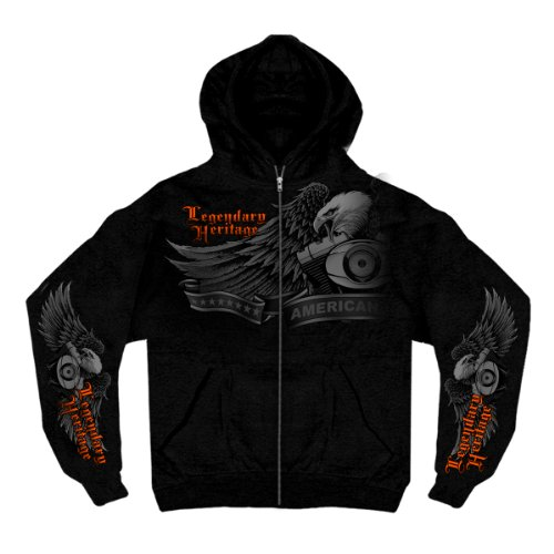 Hot Leathers Ghost Eagle Zip Hoodie (Black, XX-Large)