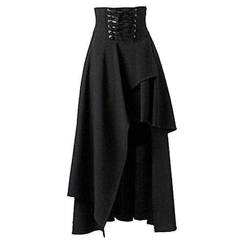 Betti-Charm-Womens-Pure-Black-Gothic-Lolita-Band-Waist-Skirt