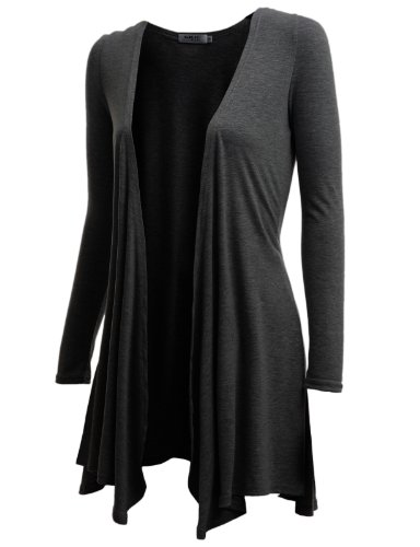 Doublju Womens Long Sleeve Draped Open Front Cardigan CHARCOAL SMALL