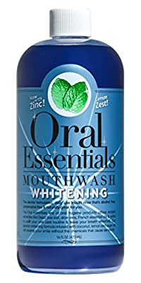 Oral Essentials Whitening Mouthwash Formula . For Daily Use Without Sensitivity No Hydrogen Peroxide or Baking Soda Whiter Teeth in Two Weeks or Less