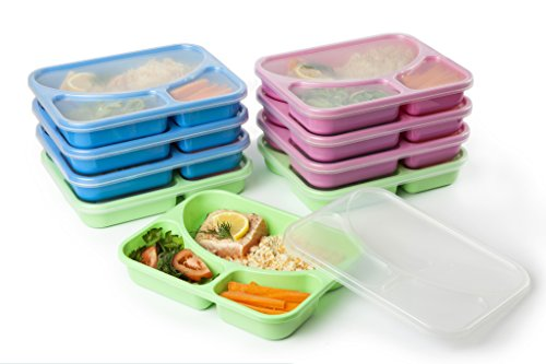 SET of 9 COLOURED Reusable-Easy To Clean Lunch Kits- Divided Food Storage Containers for Adults and Kids! Perfect Size for your meals! Recommended for HEALTHIER MEALS FOR YOU! (Divided Containers For Lunch compare prices)