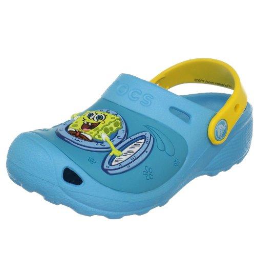 Crocs Sponge Bob Ahoy Clog (Toddler/Little Kid),Electric Blue/Yellow,4-5 M US Toddler
