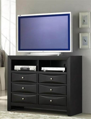 Cheap TV Dresser Stand with Brushed Chrome Accents in Glossy Black Finish (VF_AZ00-48651×35910)