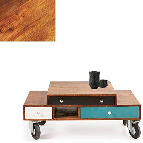 Mesa de centro en madera tropical con cajonescolor Blanco, Azul, Marrón, Negro, Selección Cabana