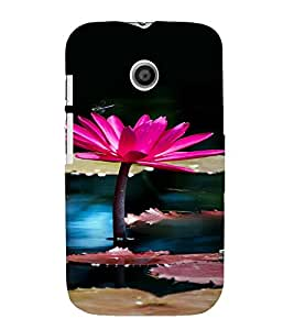 PrintVisa Lotus Pond Design 3D Hard Polycarbonate Designer Back Case Cover for Motorola Moto E
