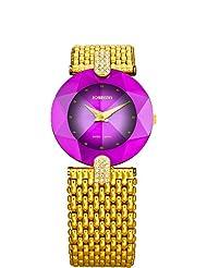 Jowissa Women's J5.016.M Facet Strass Gold PVD Dimensional Glass Purple Dial Rhinestone Watch
