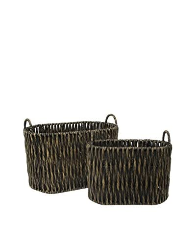 Three Hands Set of 2 Water Hyacinth Baskets As You See
