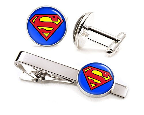 Classic Superman Tie Clip, Man of Steel Cufflinks Tack, Justice League Jewelry Cuff Links, Superhero Wedding Party Jewelry, Groomsmen Gifts, Groomsman Gift (Superman Clip compare prices)