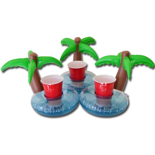 Sale!! GoPong Floating Palm Island Drink Holder (Pack of 3), Multi Color