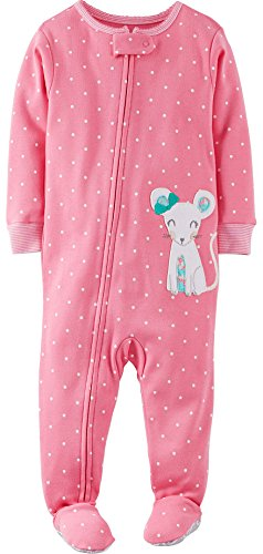 """Carter'S Baby Girls' """"Pretty Mouse"""" Footed Pajamas - Pink/Multi, 18 Months front-158307"""
