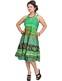 Exotic India Bud-Green Printed Barbie Dress With Patchwork - Green