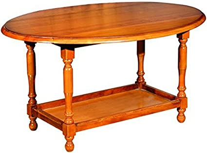 Table basse en bois massif avec 2 abattants teinte merisier -PEGANE-