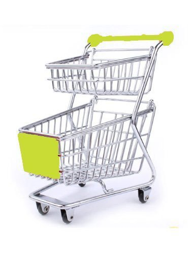 Qiyun Mini Supermarket Shopping Cart Decoration, Storage Box, Cellphone Holder, Creative Novelty Gift Double Deck...