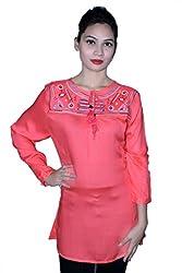 Cherry Clothing Women's Top (CRT1024 M_Coral_Medium)